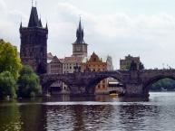 Prague, Charles Bridge as seen from the Vltava River
