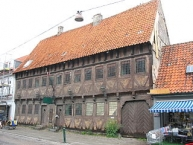 The old half-timbered house ʺRichters Gæstgivergaardʺ in the street ʺVestergadeʺ