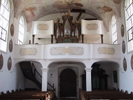 Schlosskapelle Mammern, hinterer Innenraum mit Orgel
