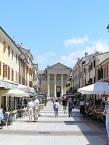 Bardolino, Piazza Matteotti with church Santi Niccoló e severo
