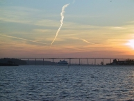 The Svendborg Sound bridge in backlight