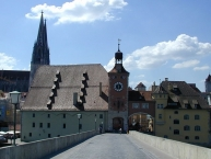 The bridge tower in front of the old town and cathedral