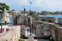 Port of Nafpaktos, fortiffications and statues of Cervantes, and Georgios Anemogiannis