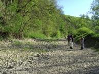 Das trockene Flussbett der Donau unterhalb von Immendingen