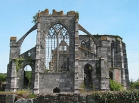 Former cistercian Abbaye dʹAulne, ruins of the abbabtial church.