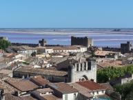 Salt evaporation ponds in Aigues-Mortes