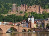 Heidelberg, Alte Brücke mit Brückentor und Heidelberger Schloss