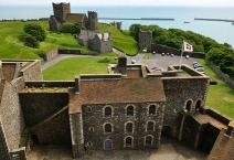 View south from the keep of Dover Castle, looking towards the church of St Mary in Castro