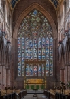 The stained glass and tracery of Carlisle Cathedral