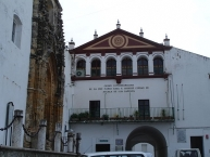 Side of the main church and Town Hall in Alcala de los Gazules