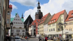 Eisleben, town square with the town hall, the Luther memorial and the St.Andreas church