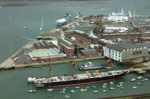 Aerial view of the Portsmouth Historic Dockyard