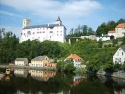 Rožmberk Castle and the Vltava River in Rožmberk nad Vltavou