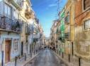 Beautiful narrow street in Baxia, Lisbon