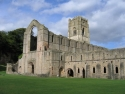 Fountains Abbey ruins seen from southwest
