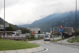 Auf dem Weg durch Visp zum Rhone-Radweg
