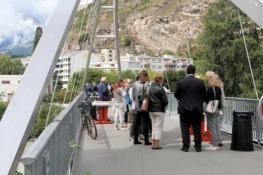 Sion, Empfang auf der Rhone-Brücke