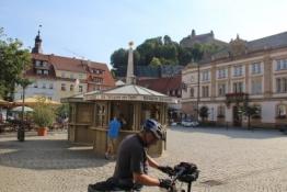 Kulmbach, Marktplatz mit Plassenburg