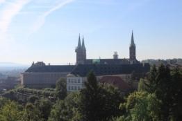 Bamberg, Dom und Neues Schloss vom Kloster Michaelsberg gesehen