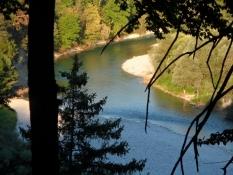 Igennem skoven højt op over floden.
