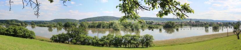 Hochwasser im Unstrut-Tal bei Laucha