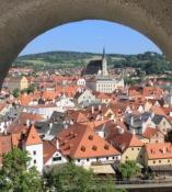 Český Krumlov, Blick vom Schloss auf die Altstadt