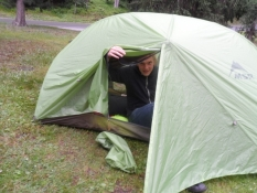 Simon i sit helt nye telt/Simon in his brand new tent