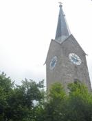 Kirketårnet (af sten?) i Holzkirchen/The church tower (made of stone?) at Holzkirchen