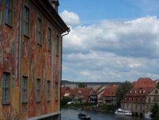 Udsigt ad Regnitz fra den øvre rådhusbro/View down the river Regnitz