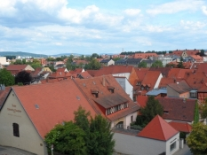 Vue ind over byens tage fra rosenhavens balkon/View of the town roofs from the rose garden balcony
