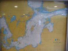 Sejlruten på et kort på skibet/The ships itenarary on a map on board the ship