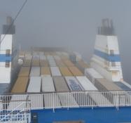 Færgen transporterer både fragt, biler og passagerer/The ferry carries cargo, cars and passengers