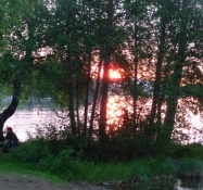 Flot solnedgang på campingpladsen/Beautiful sunset at the camp site