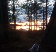 Kig ud af teltdøren midt om natten/View out of the tent in the middle of the night
