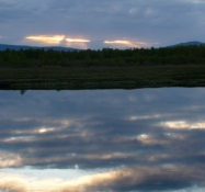 Udsigt over floden fra campingpladsen i Kittilä/View cross the river from the camp site of Kittilä