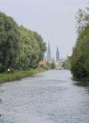 Canal du Rhône au Rhin, erster Blick auf die Türme von Mulhouse