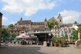 Basel, Leonhardskirche und Lohnhof vom Barfüsserplatz
