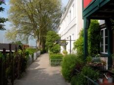 Hyggelig fodsti mellem huse og haver i Övelgönne/A cosy walking path between houses and gardens