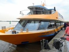 Færge/udflugtsbåd over Elben fra Holsten til Nedersaksen/Ferry from Holstein to Lower Saxony