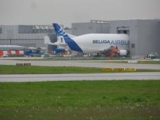 En Beluga Airbus ʺi dokʺ/A Beluga Airbus is ʹdockedʹ.