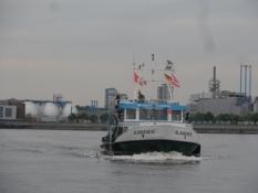 Denne færge sejle mig over havneindløbet/This harbour ferry took me cross the port entrance