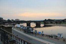 Dresden, Augustusbrücke von der Brühlschen Terrasse