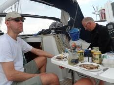 Frokost med sild og æg ombord/Lunch with herrings and eggs on board
