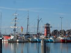 Et stort hollandsk træskib på vej ind i Bagenkop havn/A large Dutch wooden ship in Bagenkop harbour