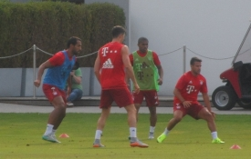 Her træner Mehdi Benatia, Robert Lewandowski, Douglas Costa og Juan Bernat/ The training is on