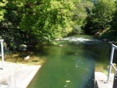 mens jeg bader i dette afløb med stærk strøm/while I have a swim in this stream with a fast current