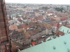 Udsigt over byens tage fra tårnplatformen/View across the roofs of the city from the tower platform