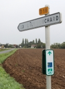 Erstes EV3 Schild der Tour bei Antogny-le-Tillac