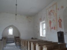 Middelalderlige kalkmalerier i kirkeskibet/Medieval frescoes in the nave