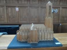 En model inkl. det spir, som endnu mangler/A model including the steeple, the church still misses